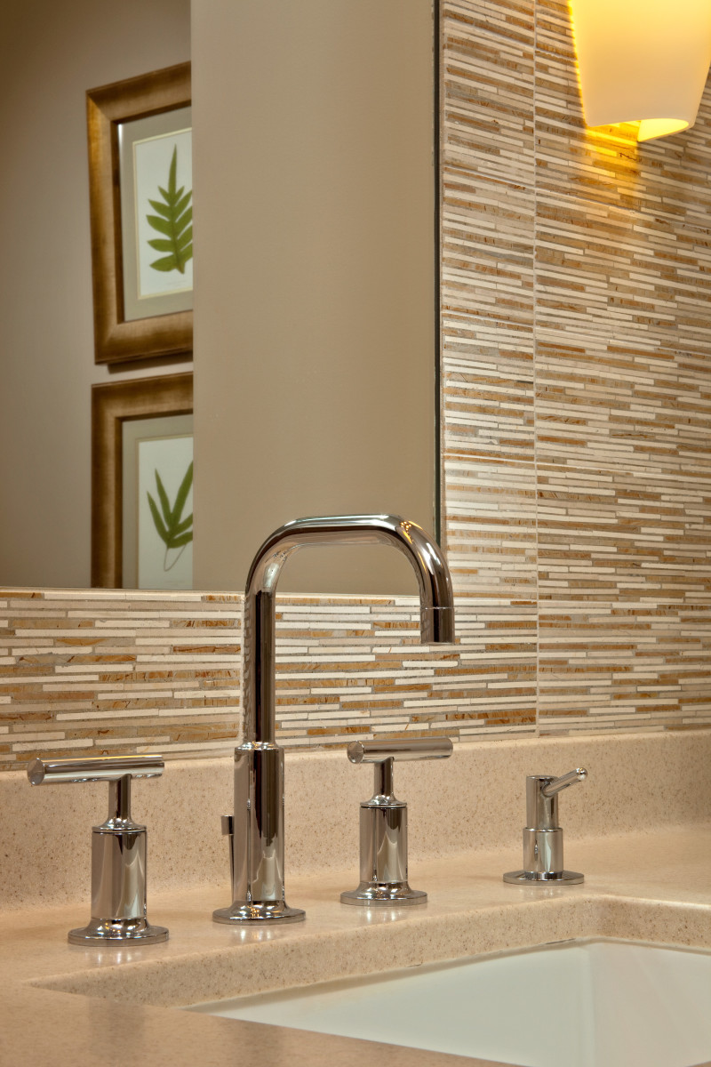 the straight lines on the modern fixtures keep the eye moving along the matchstick tile wall - Matchstick Tile Home Design