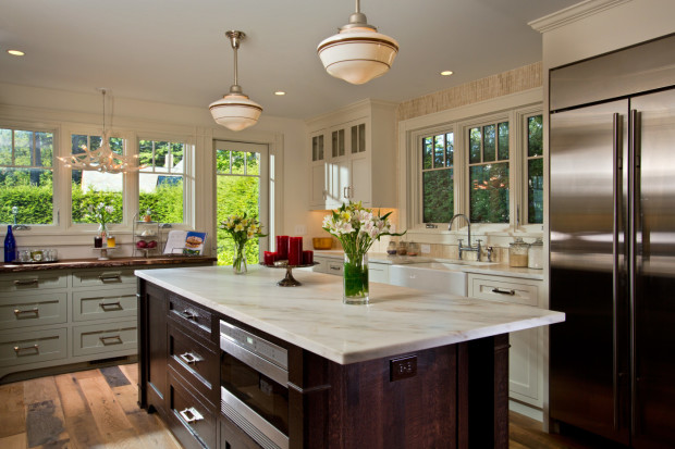 A kitchen renovation by Saratoga Springs general contractor Teakwood Builders.