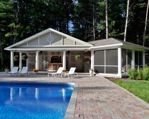 Luxurious beach cabana / pool house by Saratoga Springs general contractor and custom remodeler Teakwood Builders