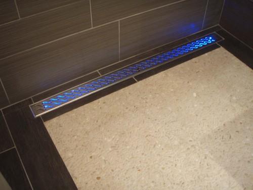 Saratoga Springs Based Teakwood Builders Bathroom Lighting Design Idea  Book: LED Lighted Linear Drain
