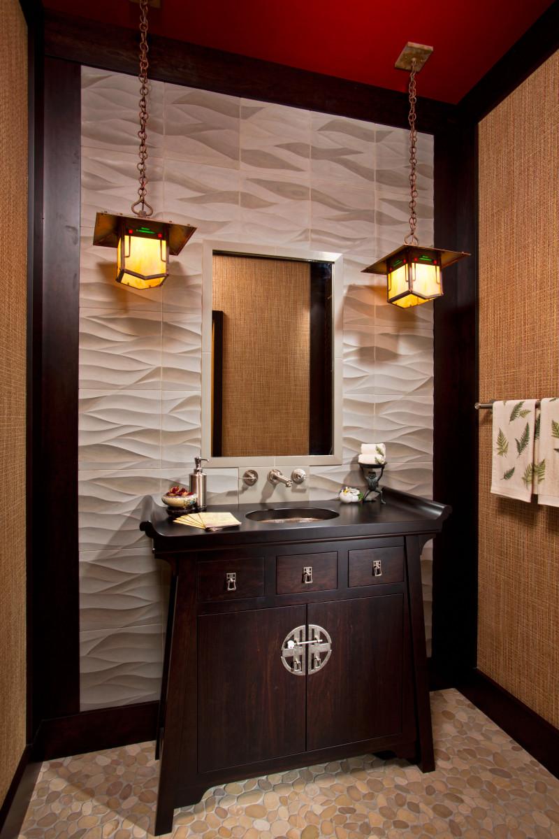 Teakwood Bathroom Lighting Design Idea Book Pendants Enhance The Lightplay On Textured Wallpaper In