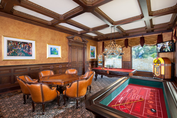 Home casino game room designed by Tracy Rasor, Dallas Design Group Interiors, and built by Sharif and Munir Custom Homes.