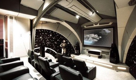 Super-fans Vic Wertz and Lisa Stevens hired a designer on two of the Star Wars films for this little fantasy theater. Dillon Works did the decor, including automatic doors, twinkling starfields, and life-sized statues of Han Solo, C-3P0 and Boba Fett.