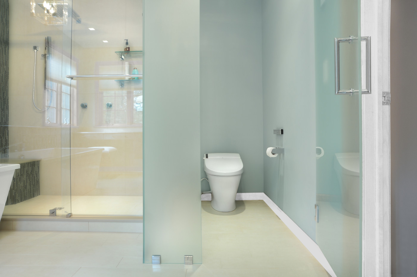 Frosted Glass Water Closet Saratoga Teakwood Builders