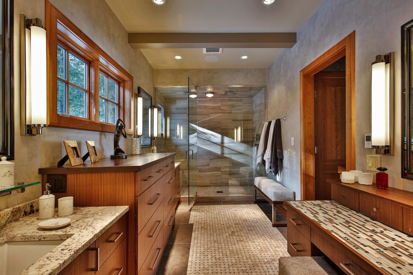 Modern Master Bath Lake George Teakwood Builders