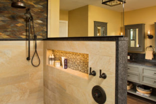 Saratoga Lake renovation, walk-in shower with half wall and mosaic tile
