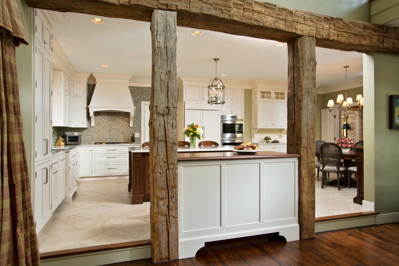 Gathering E Kitchen Renovation Exposed Beams