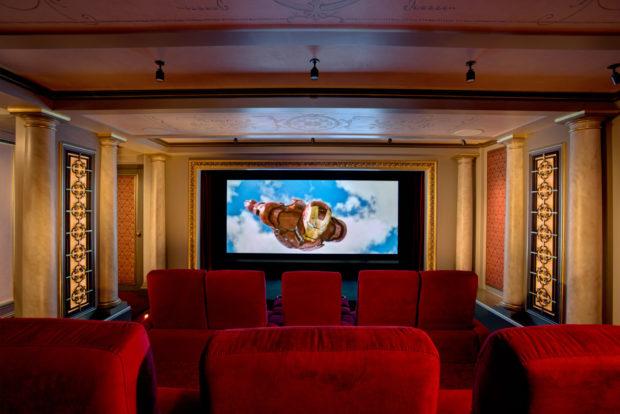 Martinis Matinees Basement Renovation movie screen